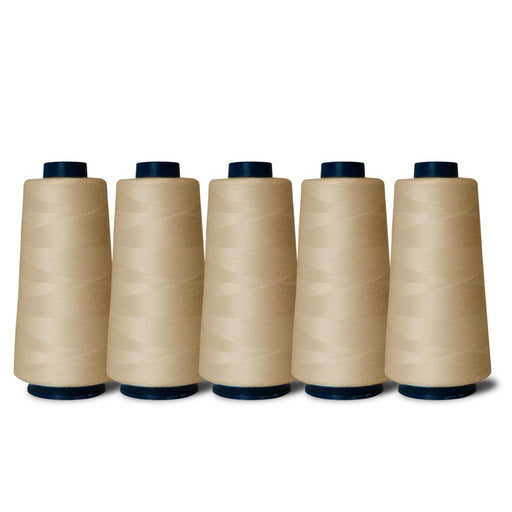 5 Natural Sewing Overlocker Thread 2000m Hemline Polyester Overlocking Spools-Hemline-ozdingo