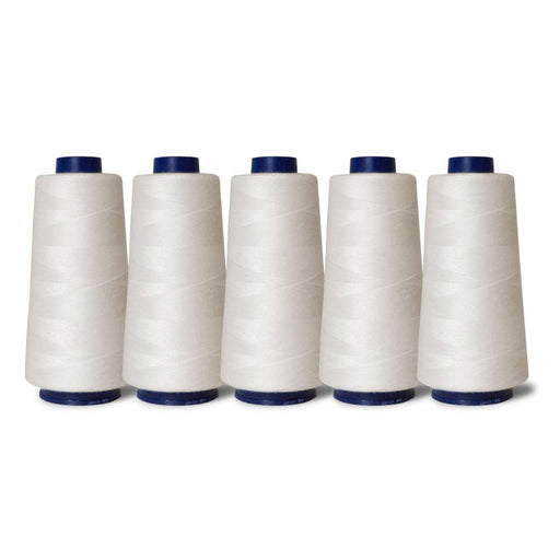 5 Off White Sewing Overlocker Thread 2000m Hemline Polyester Overlocking Spools-Hemline-ozdingo