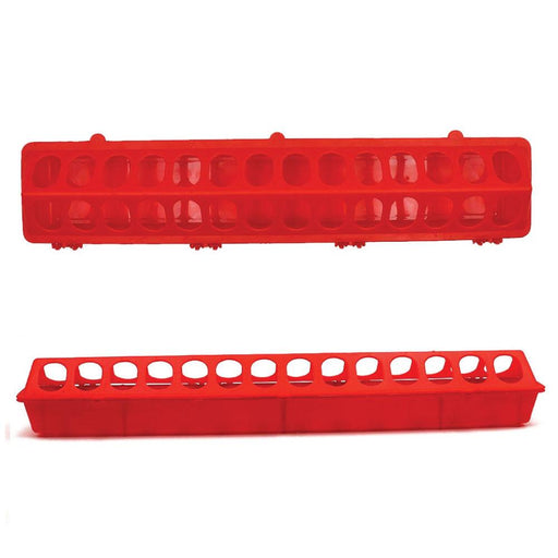 50cm Long Poultry Feeder Chicken Feeding Trough Red Plastic Flip Top Container-Rooster Farms-ozdingo