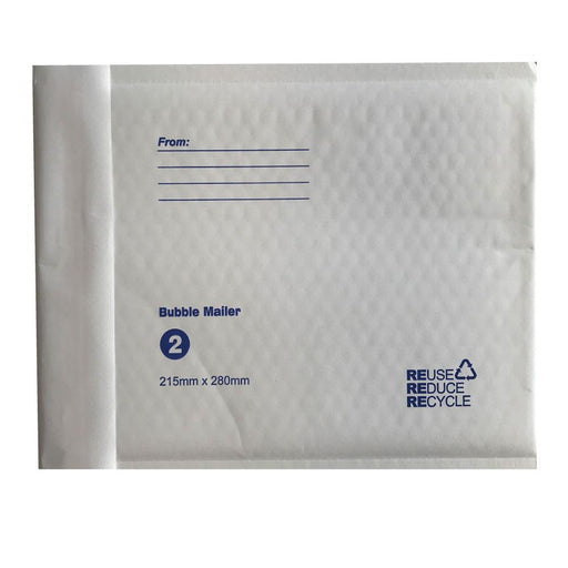 50x Tempest 215x280mm Bubble Mailers No.2 White Padded Eco Mail Bags Envelopes-Tempest-ozdingo