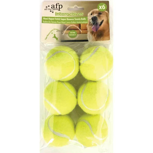6 Pack Extra Bouncy Dog Fetch Balls AFP Hyper Maxi Super Bounce Tennis Ball Toy-All For Paws-ozdingo