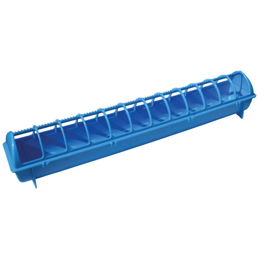 68cm Long Poultry Feeder Chicken Feeding Trough Blue Plastic Flip Top Container-Rooster Farms-ozdingo