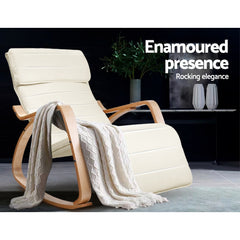 Artiss Fabric Rocking Armchair with Adjustable Footrest - Beige