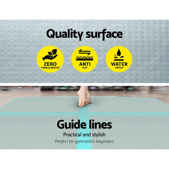 Everfit 3m x 1m Air Track Mat Gymnastic Tumbling Mint Green and Grey