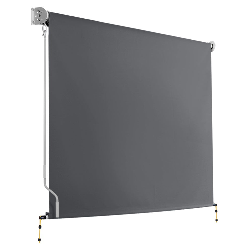 Instahut 2.1m x 2.5m Retractable Roll Down Awning - Grey