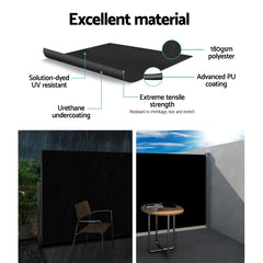 Instahut Retractable Side Awning Shade 2 x 3m - Black