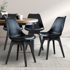 Artiss Set of 4 Retro Padded Dining Chair - Black