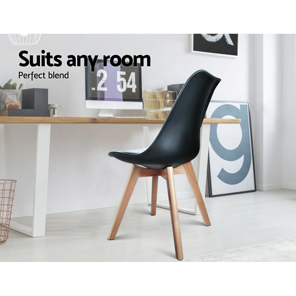 Artiss Set of 4 Padded Dining Chair - Black