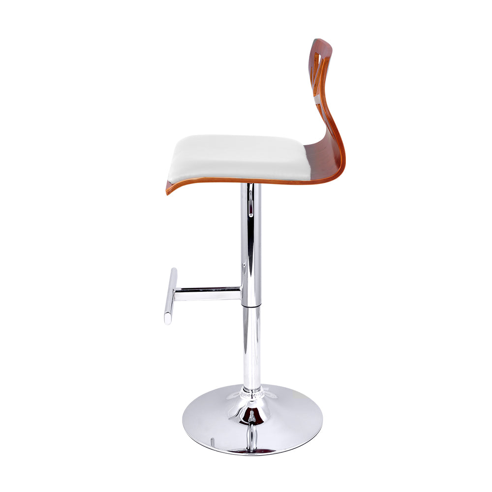 Artiss Set of 2 Wooden Gas Lift  Bar Stools - White