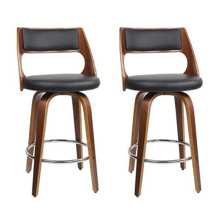 Artiss Set of 2 Wooden Bar Stools - Black
