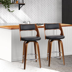 Artiss Set of 2 Wooden Bar Stools - Black, Factory, Factory - ozdingo
