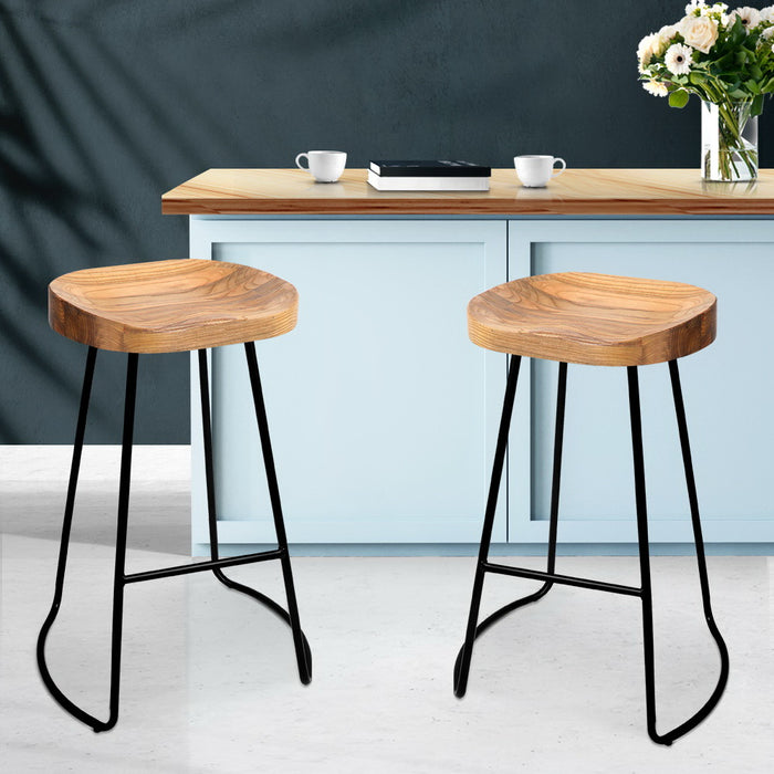 Artiss Set of 2 Wooden Backless Bar Stools - Natural