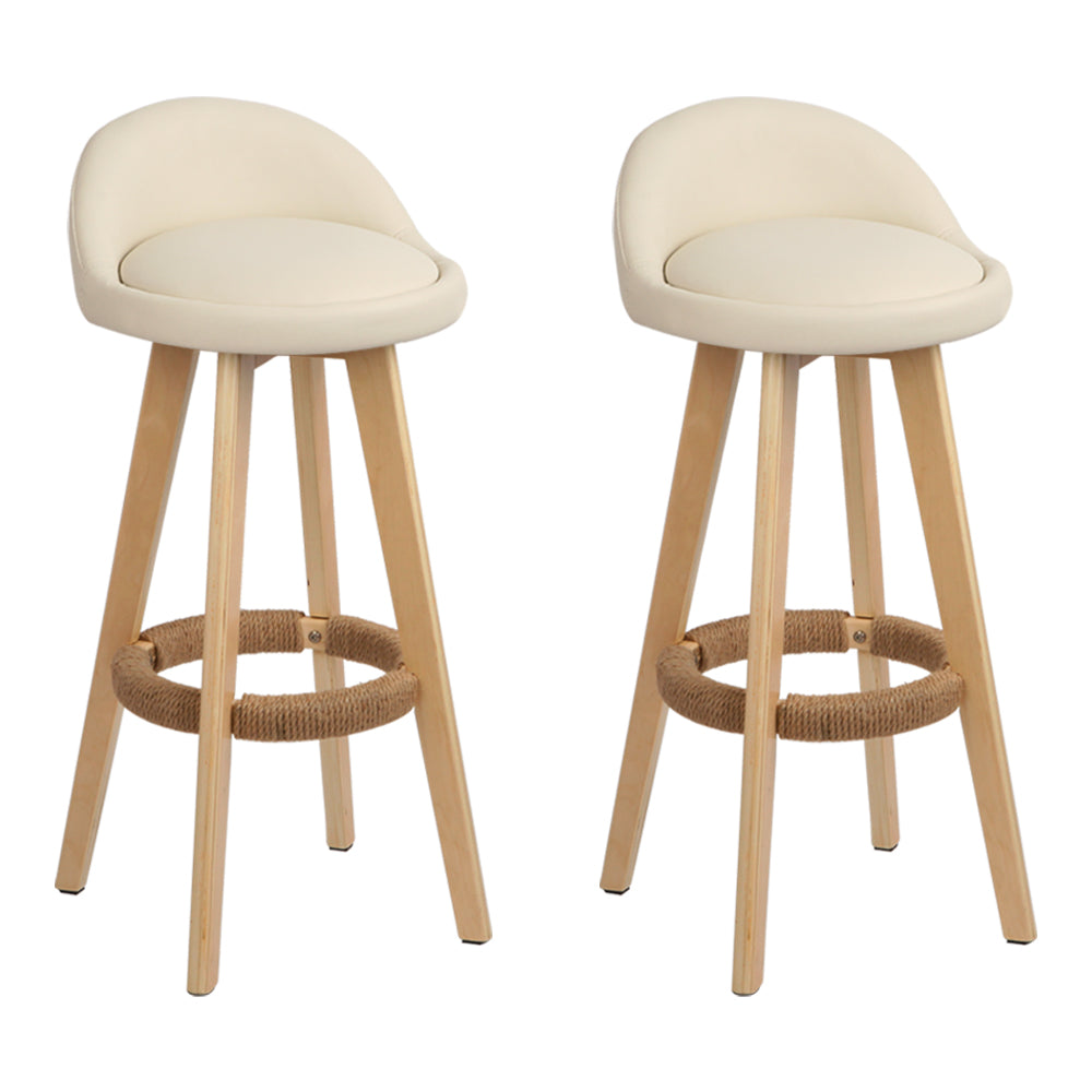 Artiss Set of 2 PU Leather Bar Stools - Beige
