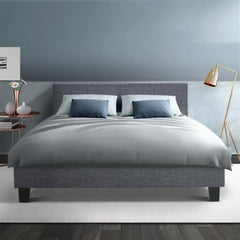 Artiss Double Size Fabric Bed Frame Headboard Grey