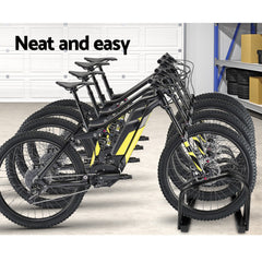 Portable Bike 4 Parking Rack Bicycle Instant Storage Stand - Black