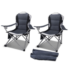 Set of 2 Portable Folding Camping Armchair - Grey
