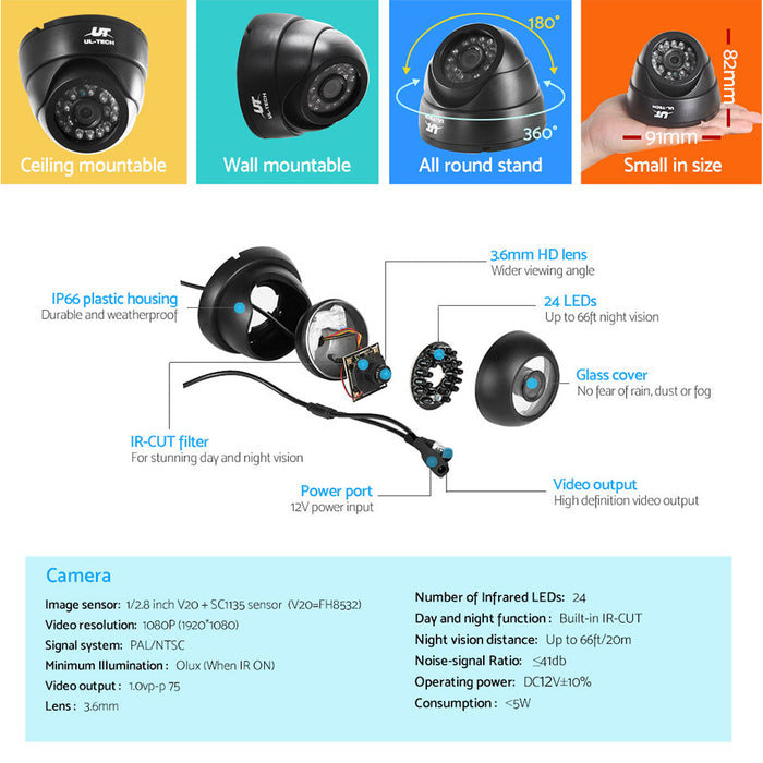 UL Tech 1080P 4 Channel HDMI CCTV Security Camera