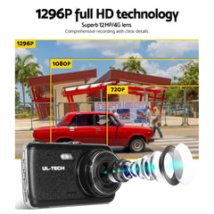 UL Tech 4 Inch Dual Camera Dash Camera - Black