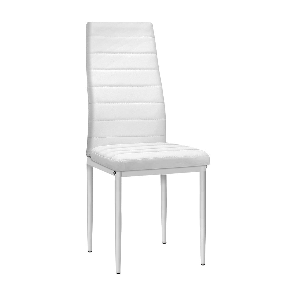 Artiss Set of 4 Dining Chairs PVC Leather - White