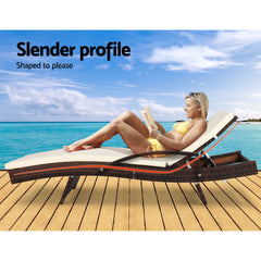 Gardeon Outdoor Sun Lounge - Brown