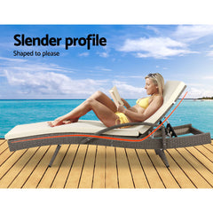 Gardeon Outdoor Sun Lounge Chair with Cushion- Grey