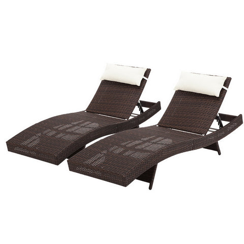 Gardeon Set of 2 Outdoor Wicker Sun Lounges - Brown