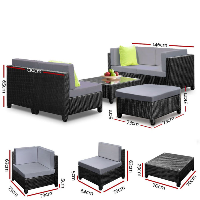 Gardeon 6pcs Outdoor Sofa Lounge Setting Couch Wicker Table Chairs Patio Furniture Black