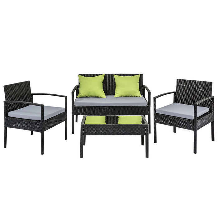4 Seater Sofa Set Outdoor Furniture Lounge Setting Wicker Chairs Table Rattan Lounger Bistro Patio Garden Cushions Black