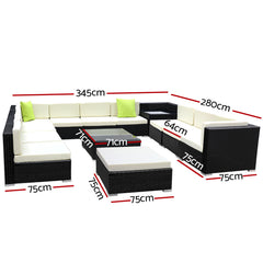 Gardeon 13 Piece Outdoor Furniture Set Wicker Sofa Lounge