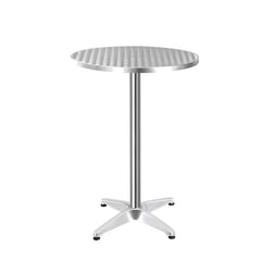 Gardeon Aluminium Adjustable Round Bar Table - Silver