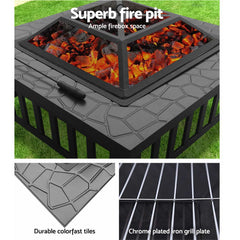 Grillz Outdoor Fire Pit BBQ Table Grill Fireplace Stone Pattern