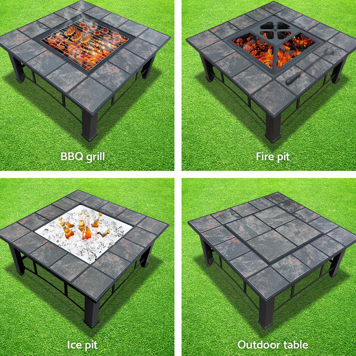 Grillz Outdoor Fire Pit BBQ Table Grill Fireplace Ice Bucket with Table Lid