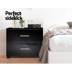Artiss High Gloss Two Drawers Bedside Table - Black