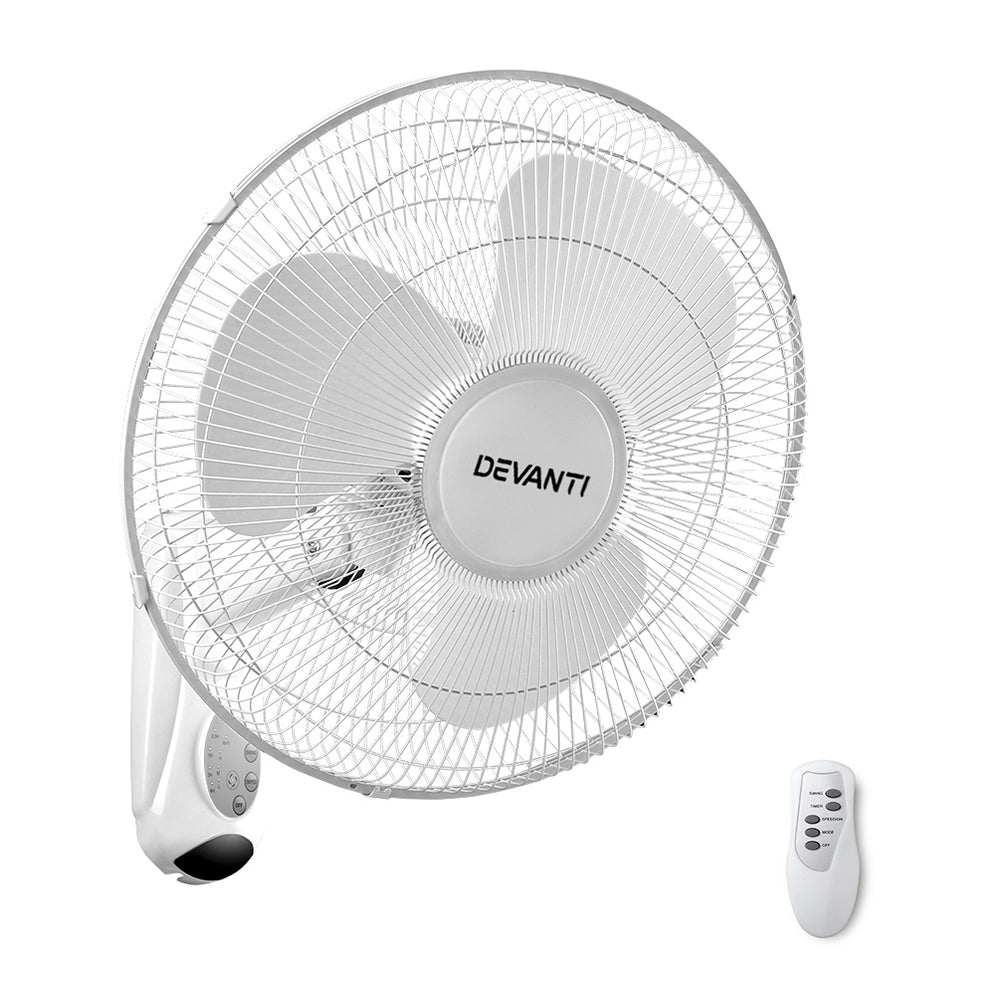 "Devanti 40cm 16"" Wall Mountable Fan - White"
