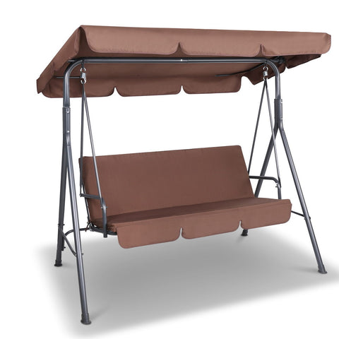 Gardeon 3 Seater Outdoor Canopy Swing Chair - Coffee