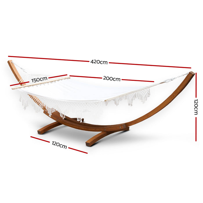 Gardeon Double Tassel Hammock with Wooden Hammock Stand