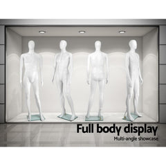 186cm Tall Full Body Male Mannequin - White