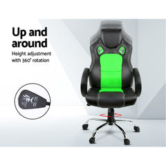 Racing Style PU Leather Office Desk Chair - Green