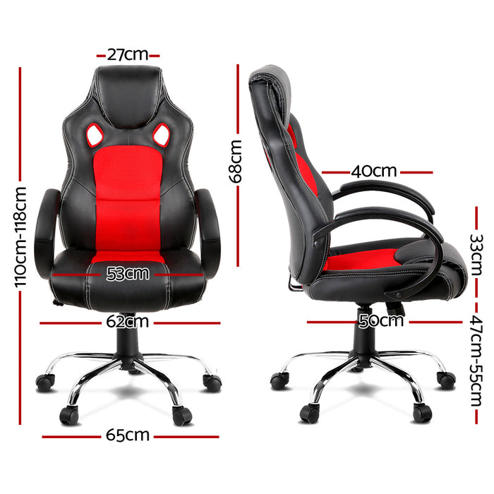Racing Style PU Leather Office Desk Chair - Red
