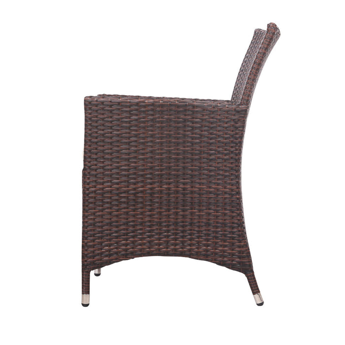 Gardeon 3pc Rattan Bistro Wicker Outdoor Furniture Set Brown
