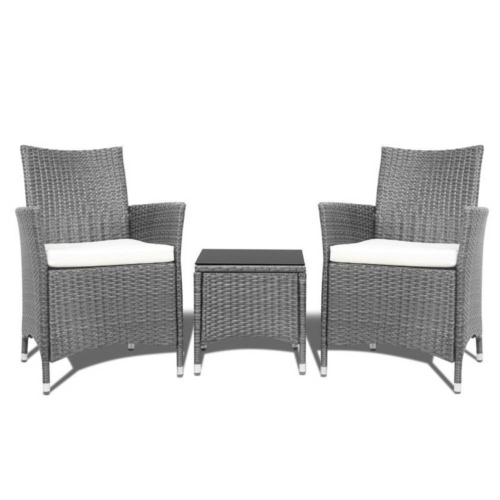 Gardeon 3pc Rattan Bistro Wicker Outdoor Furniture Set Grey