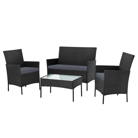 Gardeon 4-piece Rattan Outdoor Set - Black