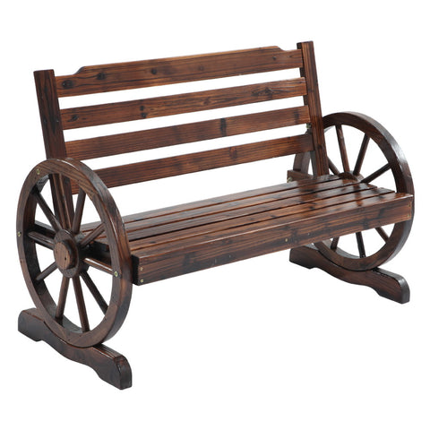 Gardeon Wooden Wagon Wheel Bench - Brown