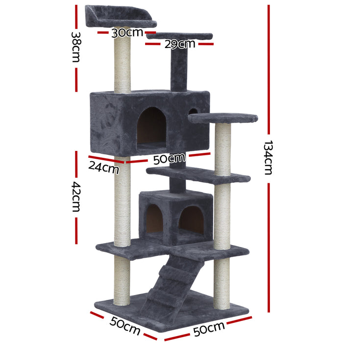 i.Pet Cat Tree 134cm Trees Scratching Post Scratcher Tower Condo House Furniture Wood Grey