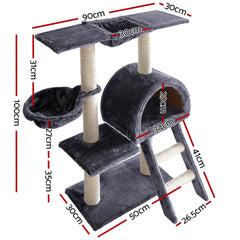 i.Pet 100cm Multi Level Cat Scratching Post - Grey