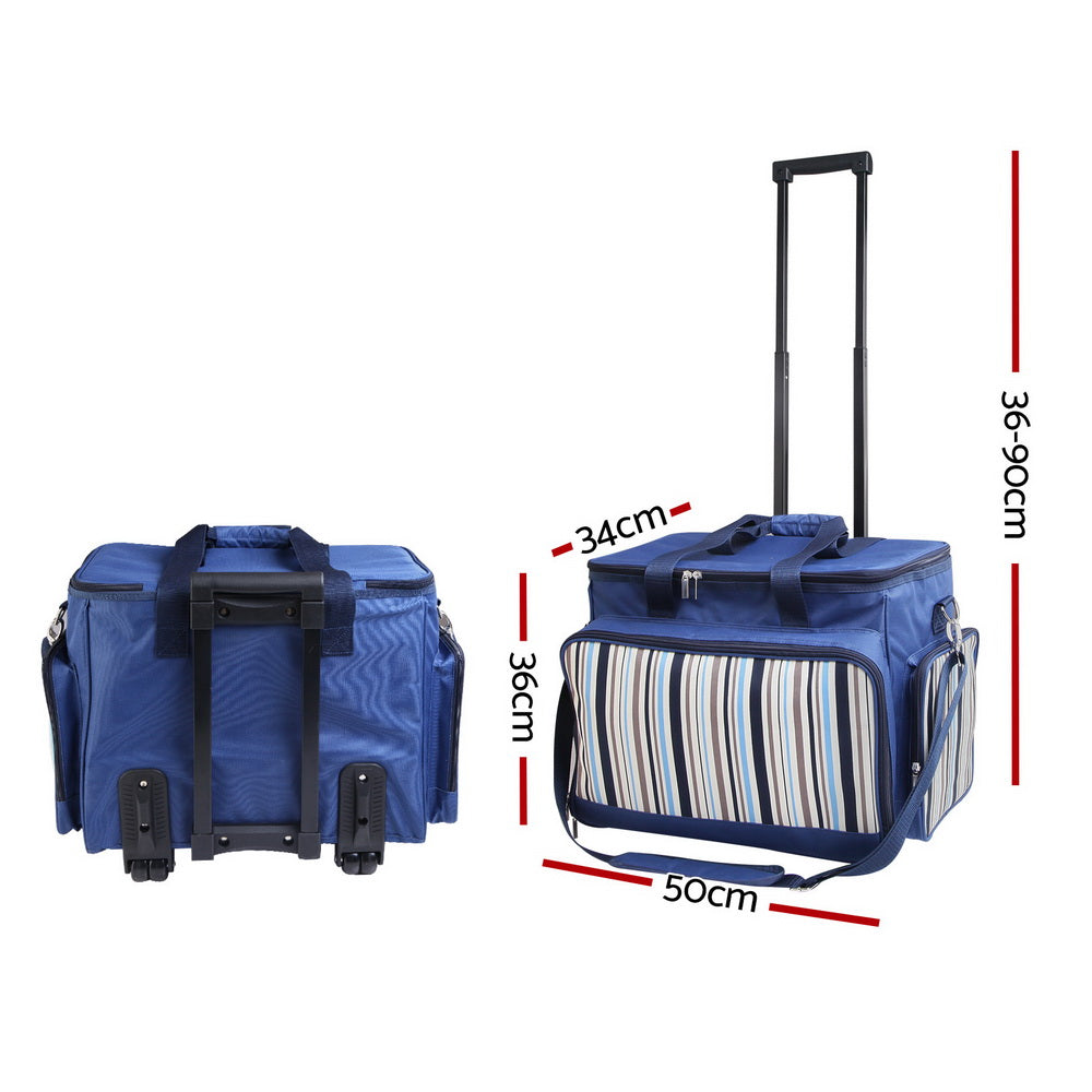 Alfresco 6 Person Picnic Bag Trolley Set - Blue