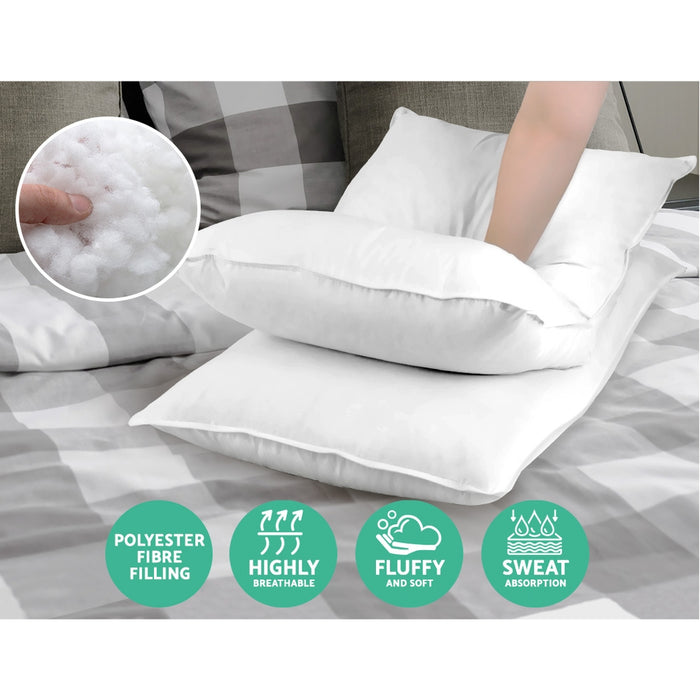 Giselle Bedding Set of 4 Medium & Firm Cotton Pillows