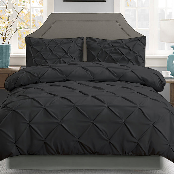 Giselle Bedding Queen Size Quilt Cover Set - Black