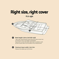 12 - 14 foot Waterproof Boat Cover - Grey