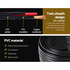 Twin Core Wire Electrical Automotive Cable 2 Sheath 12V 6MM 60M